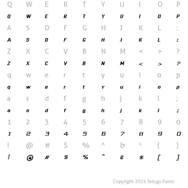 Character Map of Dhurjati Italic